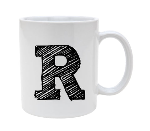 Ceramic Alphabet Letter Handwritten Letter R 11oz Coffee Mug Cup