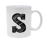 Ceramic Alphabet Letter Handwritten Letter S 11oz Coffee Mug Cup