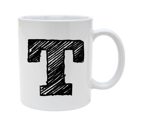 Ceramic Alphabet Letter Handwritten Letter T 11oz Coffee Mug Cup