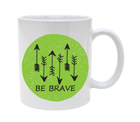 Ceramic Be Brave Arrows In Green Circle 11oz Coffee Mug Cup