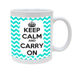 Ceramic Keep Calm and Carry On Chevron Baby Blue 11oz Coffee Mug Cup