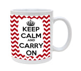 Ceramic Keep Calm and Carry On Chevron Red 11oz Coffee Mug Cup