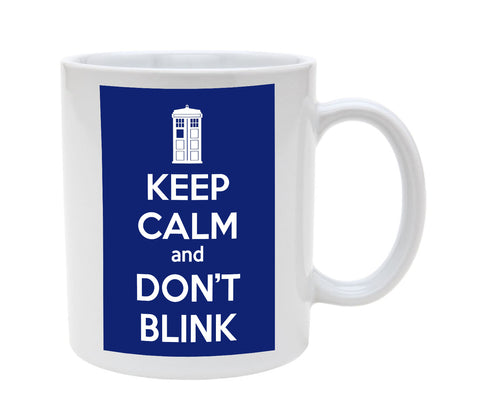 Ceramic Tardis Blue Keep Calm and Don't Blink Tardis 11oz Coffee Mug Cup