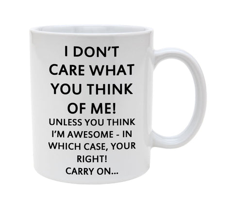 Ceramic I Don'T care What You Think Of Me Unless You Think I Am Awesome Then Carry On 11oz Coffee Mug Cup