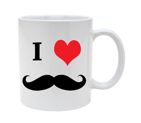 Ceramic I Heart Mustache 11oz Coffee Mug Cup