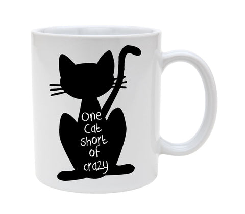 Ceramic One Cat Short Of Crazy 11oz Coffee Mug Cup