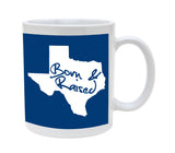 Ceramic Texas Born And Raised Blue Background 11oz Coffee Mug Cup