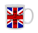 Ceramic Union Jack Keep Calm Carry On 11oz Coffee Mug Cup