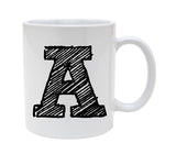 Ceramic Alphabet Letter Handwritten Letter A 11oz Coffee Mug Cup