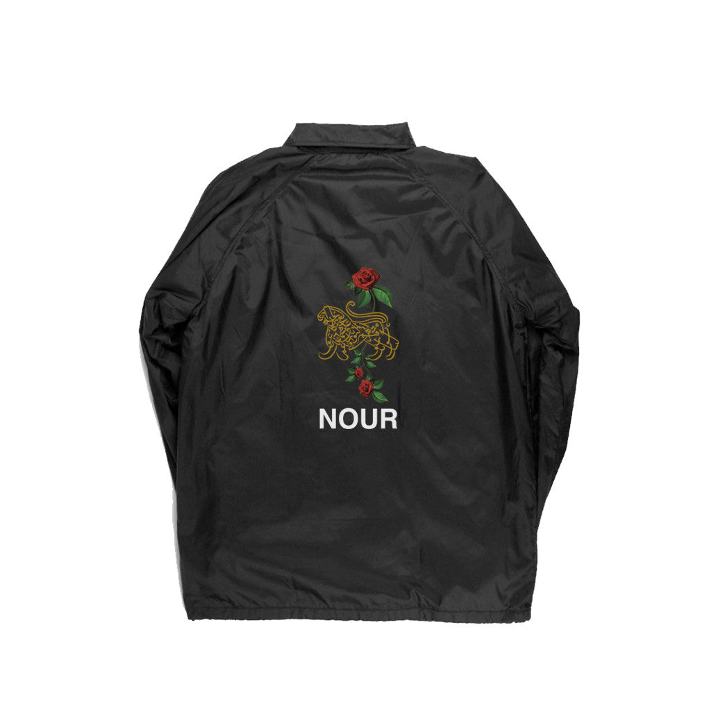 LION OF ALLAH EMBROIDERY COACH JACKET IN BLACK