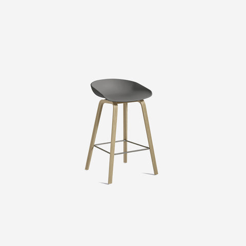 SIMPLE FORM.-Hay AAS32 Grey + Oak Stool