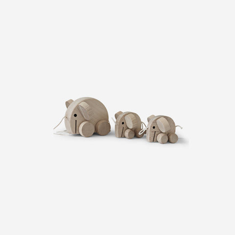 Ella and Frederik - Elephants Pullalong - Wooden Toy  SIMPLE FORM.