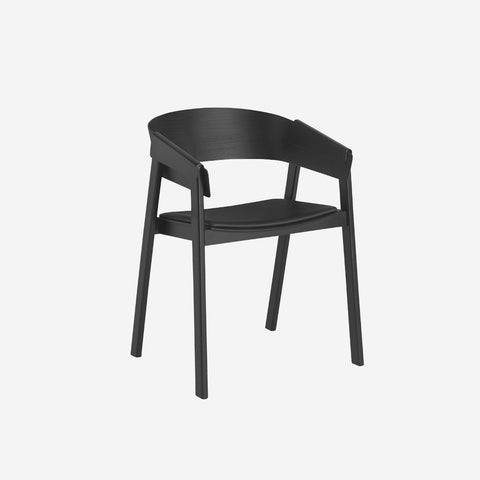 SIMPLE FORM.-Muuto Cover Chair Black Silk Leather Chair