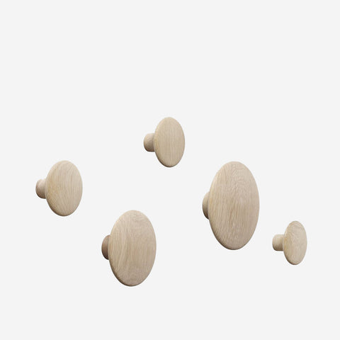 Muuto - Dot Hooks Wood Set Oak by Muuto - Hook  SIMPLE FORM.