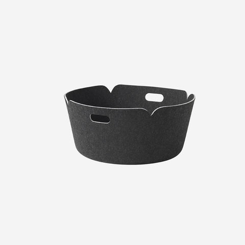 SIMPLE FORM. - Muuto - Restore Round Basket Black Melange - Basket
