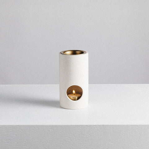 Addition Studio - Synergy Oil Burner Limestone - Oil Burner  SIMPLE FORM.