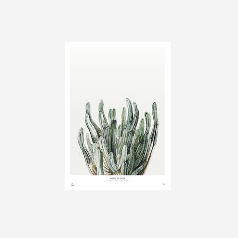 SIMPLE FORM.-My Deer Shades of Green Watercolour Print Print