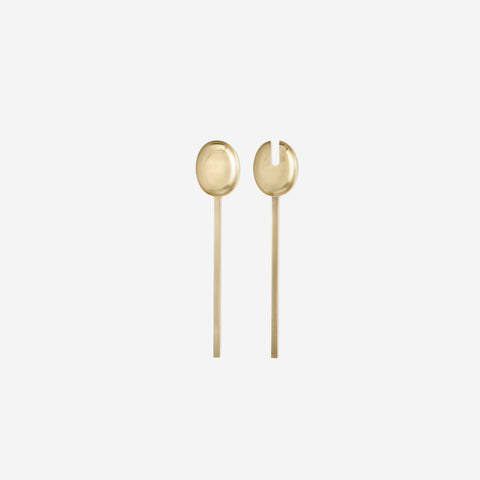 Ferm Living - Ferm Living Fein Salad Servers Brass - Salad Servers  SIMPLE FORM.