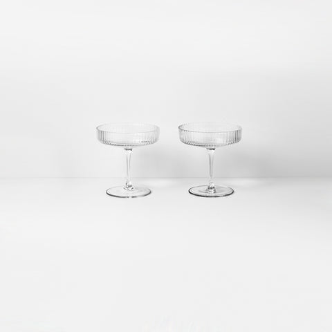 Ferm Living - Ferm Living Ripple Champagne Saucer Clear - Glasses  SIMPLE FORM.