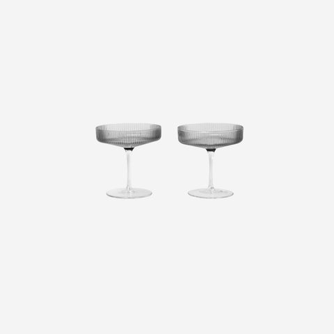 Ferm Living - Ferm Living Ripple Champagne Saucer Smoke - Glasses  SIMPLE FORM.