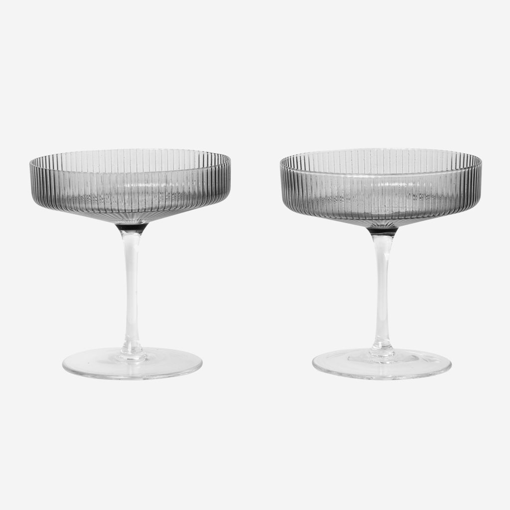 Ferm Living Ripple Champagne Saucer Smoke Glasses Simple Form
