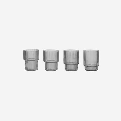 Ferm Living - Ferm Living Ripple Small Glass Set Smoke - Glasses  SIMPLE FORM.