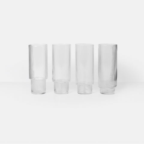 Ferm Living - Ferm Living Ripple Long Drink Glass Set Clear - Glasses  SIMPLE FORM.