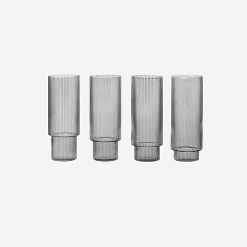 Ferm Living - Ferm Living Ripple Long Drink Glass Set Smoke - Glasses  SIMPLE FORM.