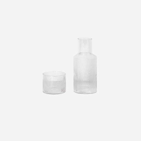 Ferm Living - Ferm Living Ripple Carafe Set Small Clear - Glasses  SIMPLE FORM.