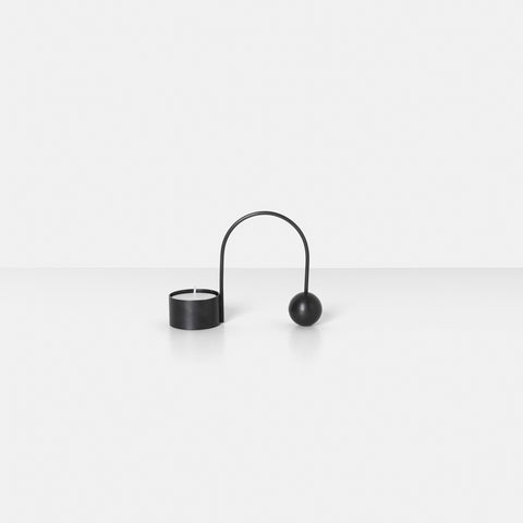 Ferm Living - Ferm Living Balance Tealight Holder Black Brass - Candle Holder  SIMPLE FORM.