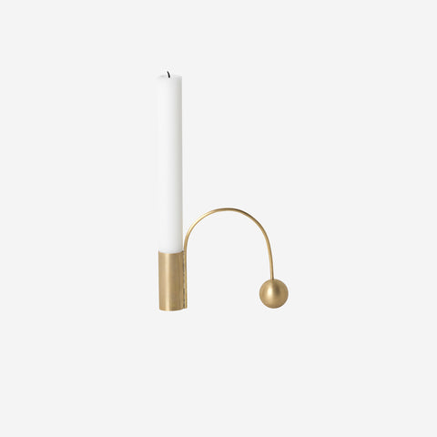 Ferm Living - Ferm Living Balance Candle Holder Brass - Candle Holder  SIMPLE FORM.