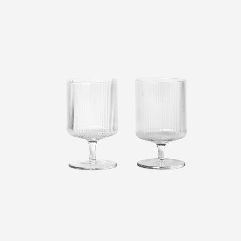 Ferm Living - Ferm Living Ripple Wine Glass Set Clear - Glasses  SIMPLE FORM.