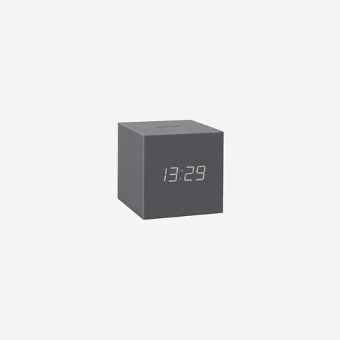 SIMPLE FORM. - Gingko - Click Clock Cube Gravity Grey - Clock