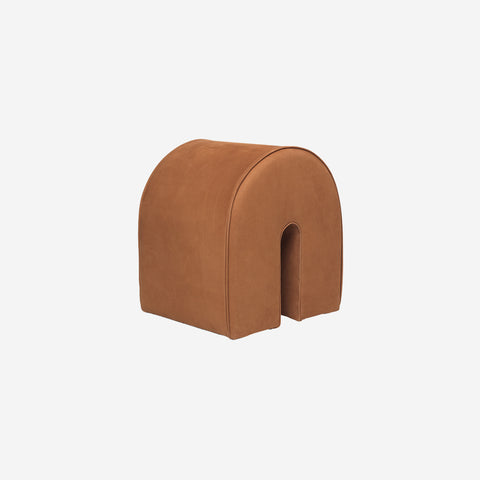 Kristina Dam - Curved Leather Pouf Cognac Brown - Pouf  SIMPLE FORM.