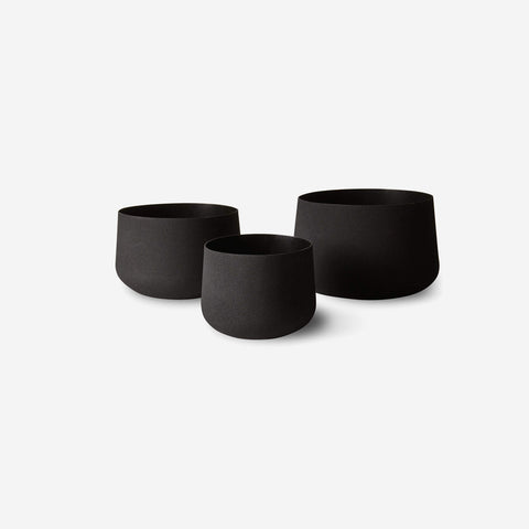 LM Home - Mona Trio of Pots Black - Planters  SIMPLE FORM.