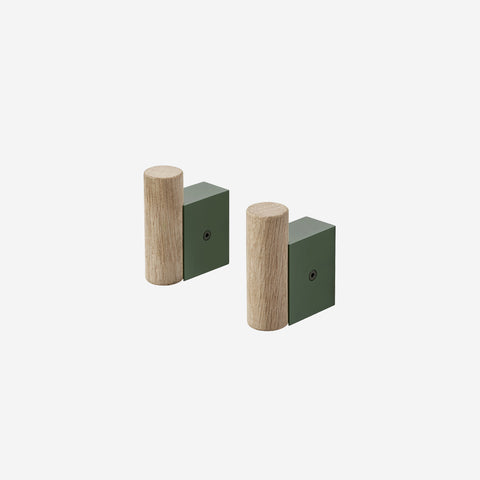 Muuto - Attach Coat Hook Oak Dark Green by Muuto - Hook  SIMPLE FORM.
