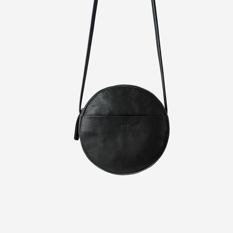 SIMPLE FORM. - Baggu - Black Leather Circle Purse Bag - Bag