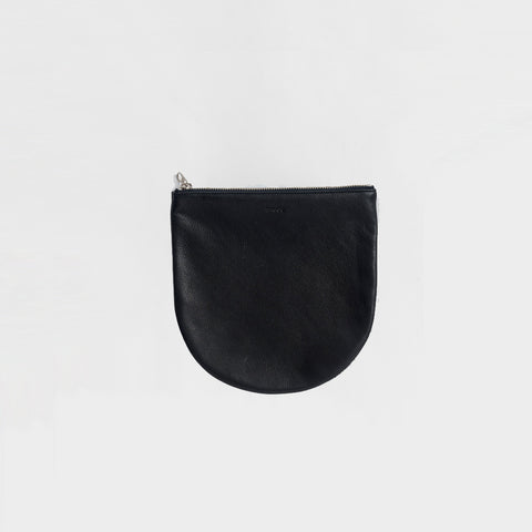 Baggu - Black Leather Large U Pouch - Bag  SIMPLE FORM.