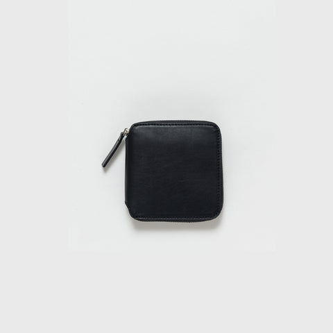 Baggu - Black Leather Square Wallet - Bag  SIMPLE FORM.