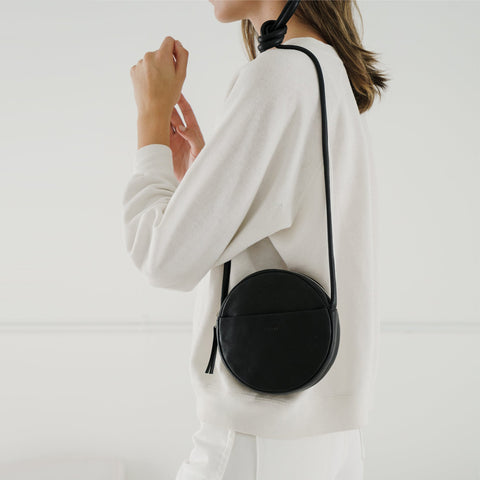 SIMPLE FORM. - Baggu - Black Leather Mini Circle Purse Bag - Bag