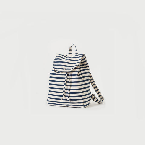 Sailor Stripe Canvas Drawstring Backpack
