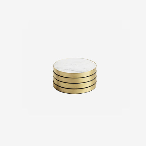 SIMPLE FORM. - Behr and Co - Brass + Marble Geo Coasters - Coasters