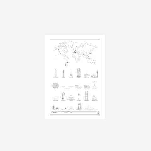 Block Stdo - Block Studio World Map of Architecture Print - Art Prints  SIMPLE FORM.