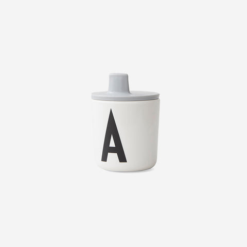 SIMPLE FORM. - Design Letters - Drink Lid for Melamine Cup Grey - Children's Cup Lid