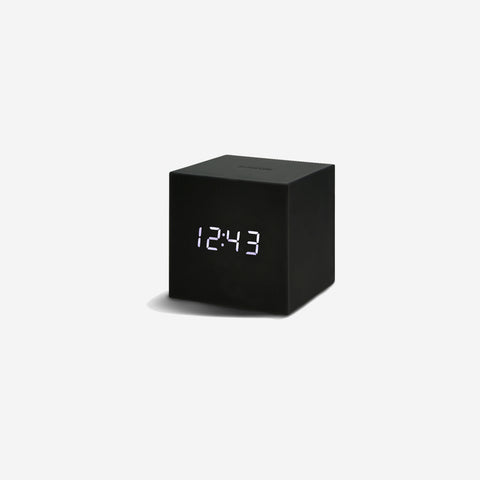 SIMPLE FORM. - Gingko - Click Clock Cube Gravity Black - Clock