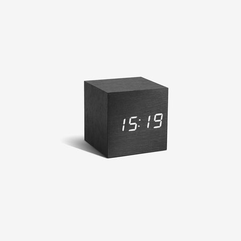 SIMPLE FORM. - Gingko - Click Clock Cube Black - Clock