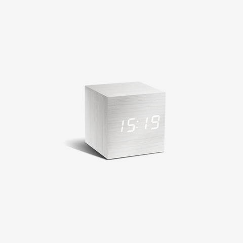 SIMPLE FORM. - Gingko - Click Clock Cube White - Clock
