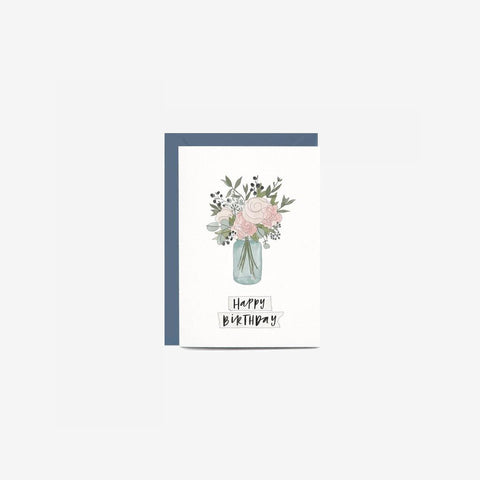 In The Daylight - Card Birthday Jar Of Flowers - Greeting Card  SIMPLE FORM.