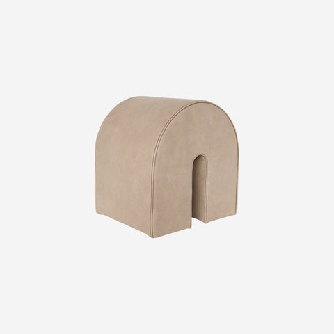 SIMPLE FORM. - Kristina Dam - Curved Pouf Light Brown Leather - Design object