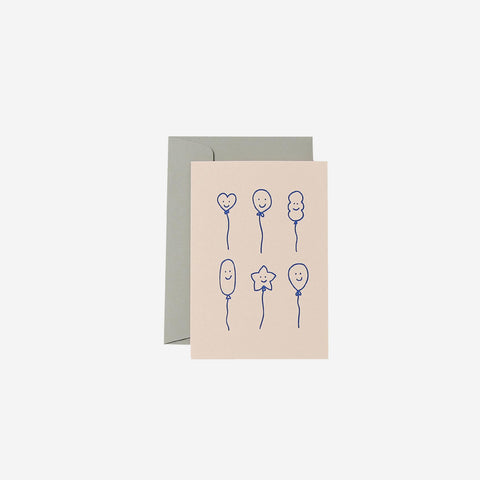 SIMPLE FORM. - Me and Amber - Card Smiley Balloons Blush - Greeting Card